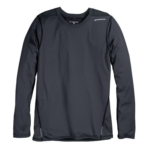 Mens Brooks Rev III Long Sleeve No Zip Technical Tops - Anthracite Shattered Print/Black L ...