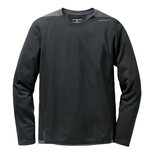 Mens Brooks Rev III Long Sleeve No Zip Technical Tops - Black/Anthracite L