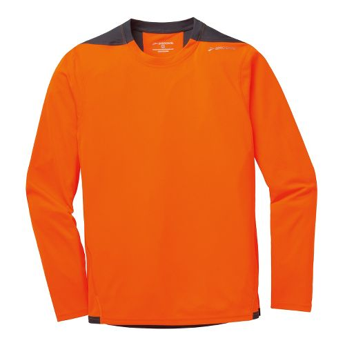 Mens Brooks Rev III Long Sleeve No Zip Technical Tops - Brite Orange/Anthracite L