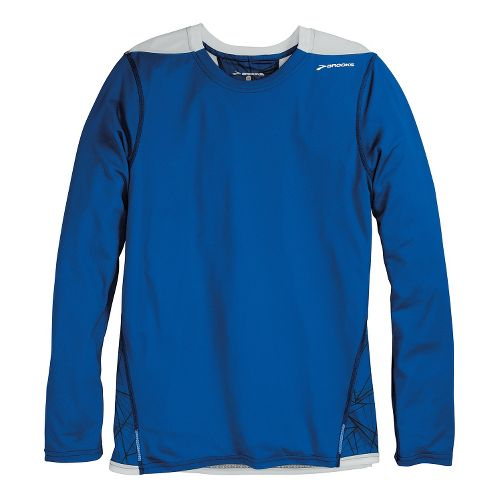 Mens Brooks Rev III Long Sleeve No Zip Technical Tops - Electric Shattered Print/Electric L ...