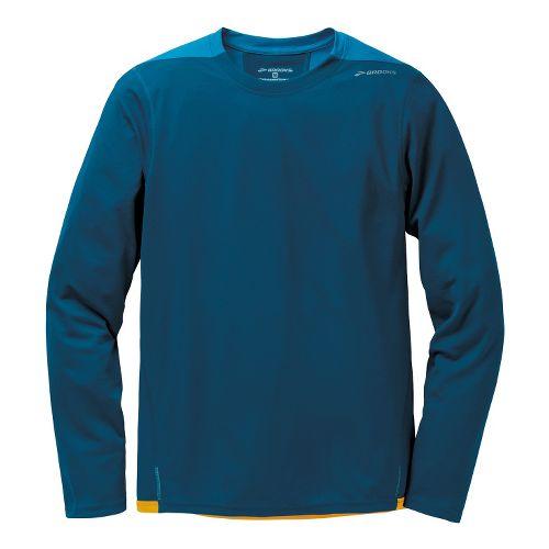 Mens Brooks Rev III Long Sleeve No Zip Technical Tops - Poseidon/Baltic M