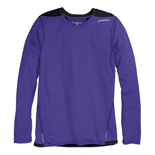 Mens Brooks Rev III Long Sleeve No Zip Technical Tops - Prince/Black XL