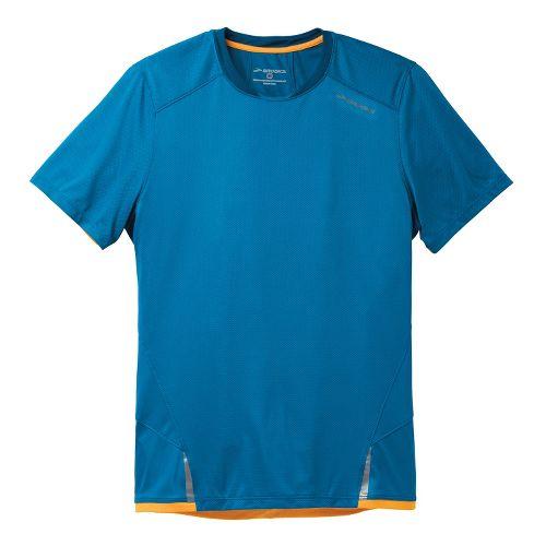 Mens Brooks Infiniti Short Sleeve Technical Tops - Baltic/Poseidon L