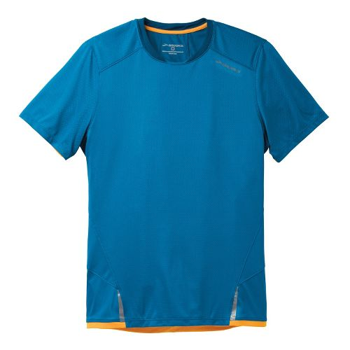 Mens Brooks Infiniti Short Sleeve Technical Tops - Baltic/Poseidon XS