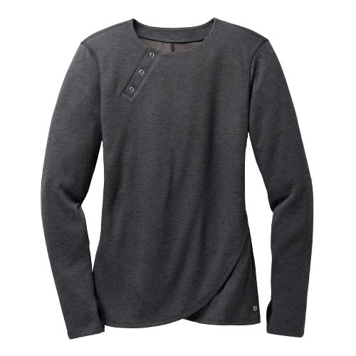 Womens Brooks PureProject Henley Long Sleeve No Zip Technical Tops - Charcoal XS