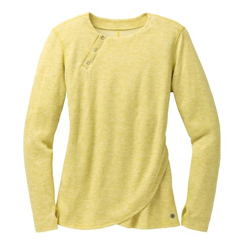 Womens Brooks PureProject Henley Long Sleeve No Zip Technical Tops - Corona/Heather S