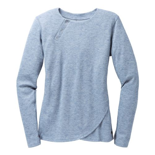 Womens Brooks PureProject Henley Long Sleeve No Zip Technical Tops - Storm M