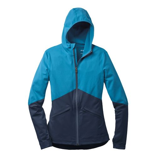 Womens Brooks Utopia Thermal Hoodie III Running Jackets - Aurora/Midnight L