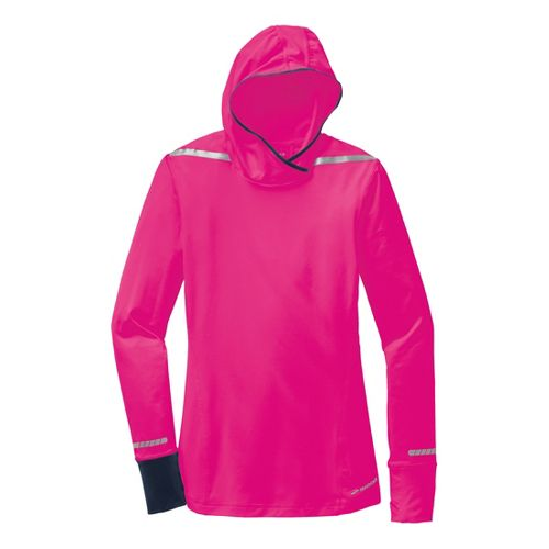 Womens Brooks Nightlife Long Sleeve No Zip Technical Tops - Bright Pink/Midnight M