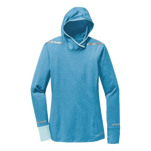 Womens Brooks Nightlife Long Sleeve No Zip Technical Tops - Heather Aurora/Heather Sea Breeze S ...