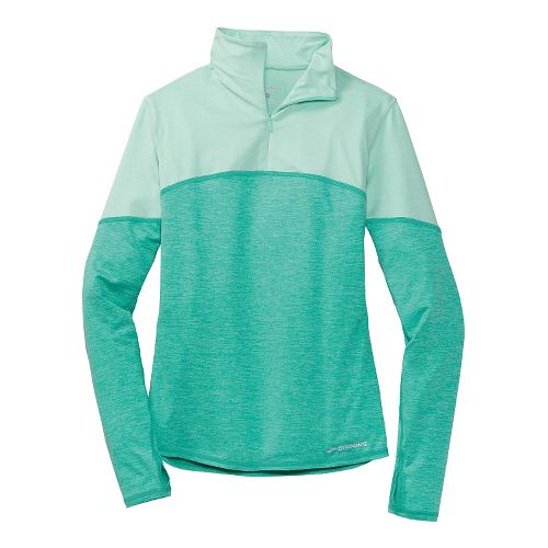 Womens Brooks Essential III Long Sleeve 1/2 Zip Technical Top - Lagoon/Glass M