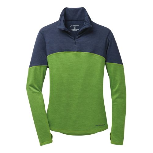 Womens Brooks Essential III Long Sleeve 1/2 Zip Technical Tops - Avocado/Heather Midnight Blue ...