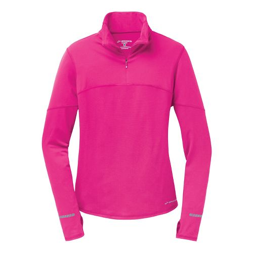 Womens Brooks Essential III Long Sleeve 1/2 Zip Technical Tops - Brite Pink S