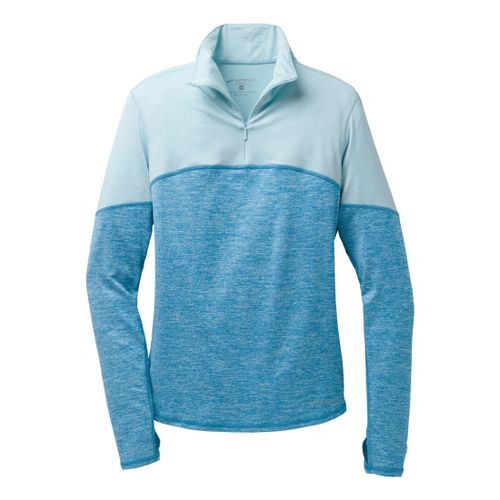 Womens Brooks Essential III Long Sleeve 1/2 Zip Technical Tops - Heather Aurora/Heather Sea ...