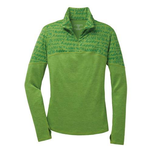 Womens Brooks Essential III Long Sleeve 1/2 Zip Technical Top - Heather/Avocado S