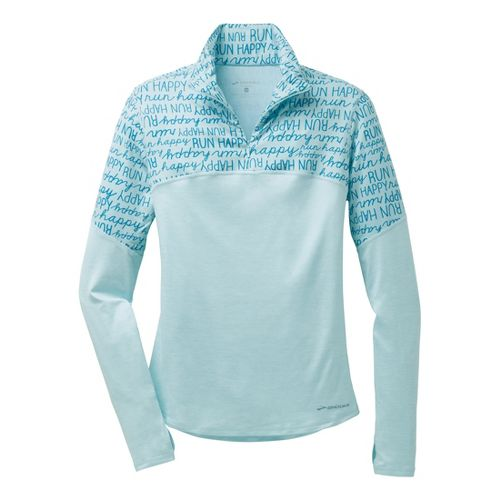 Womens Brooks Essential III Long Sleeve 1/2 Zip Technical Tops - Heather/Breeze L