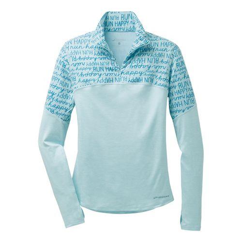 Womens Brooks Essential III Long Sleeve 1/2 Zip Technical Top - Heather/Breeze XS