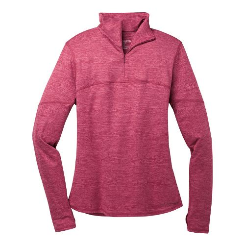 Womens Brooks Essential III Long Sleeve 1/2 Zip Technical Tops - Heather Jam L