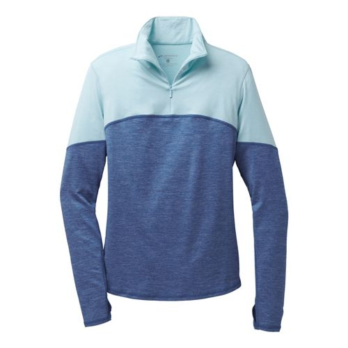 Womens Brooks Essential III Long Sleeve 1/2 Zip Technical Tops - Heather Ink/Breeze L