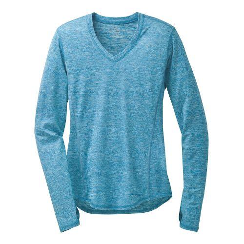 Womens Brooks Essential V-Neck II Long Sleeve No Zip Technical Tops - Heather Aurora S ...