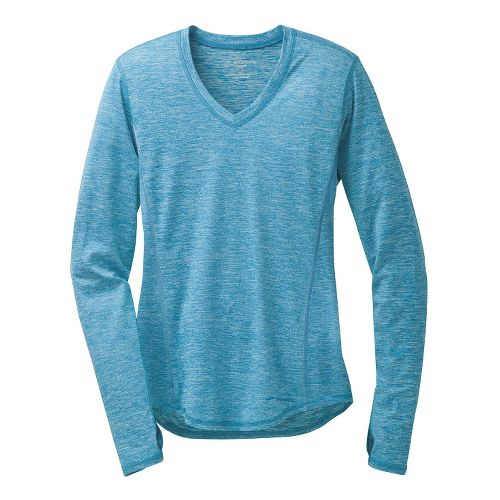 Womens Brooks Essential V-Neck II Long Sleeve No Zip Technical Tops - Heather Aurora XS ...