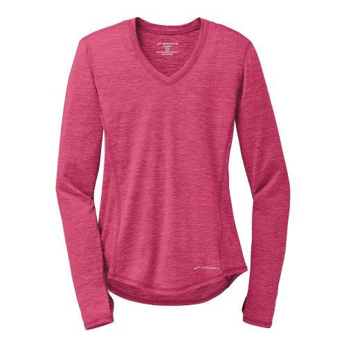 Womens Brooks Essential V-Neck II Long Sleeve No Zip Technical Tops - Heather Jam L ...