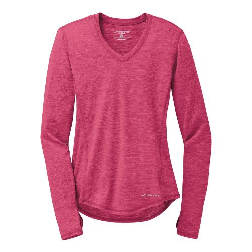 Womens Brooks Essential V-Neck II Long Sleeve No Zip Technical Tops - Heather Jam S ...