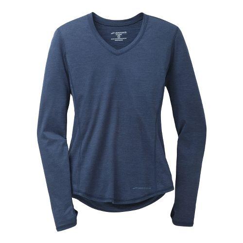 Womens Brooks Essential V-Neck II Long Sleeve No Zip Technical Tops - Midnight L