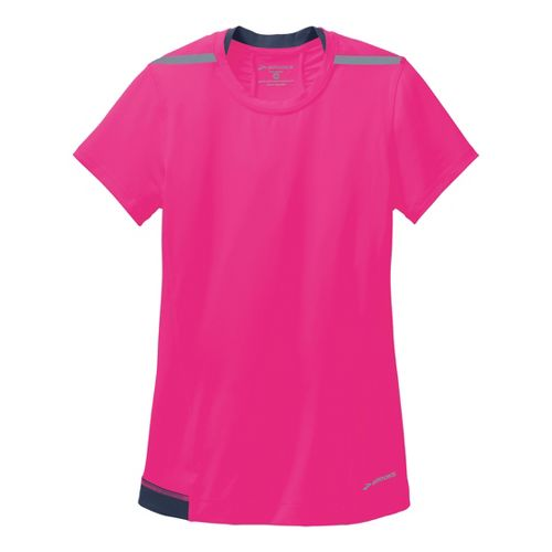 Womens Brooks Nightlife Short Sleeve Technical Tops - Brite Pink/Midnight XS