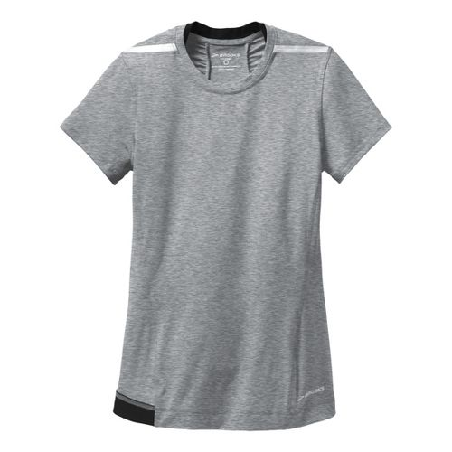 Womens Brooks Nightlife Short Sleeve Technical Tops - Heather Mako/Black XL