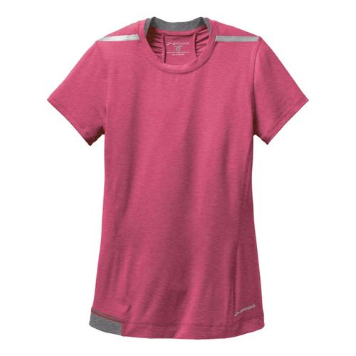 Womens Brooks Nightlife Short Sleeve Technical Tops - Jam/Mako XS