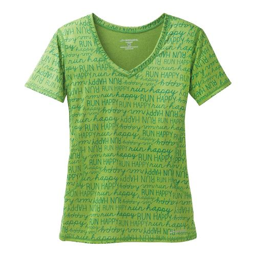 Womens Brooks Versatile III RunHappy Short Sleeve Technical Tops - Avocado XS