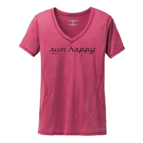 Womens Brooks Versatile III Graphic Run Happy Short Sleeve Technical Tops - Heather Jam XL ...