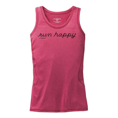 Womens Brooks Versatile Raceback III Graphic Run Happy Tanks Technical Tops - Heather Jam XS ...