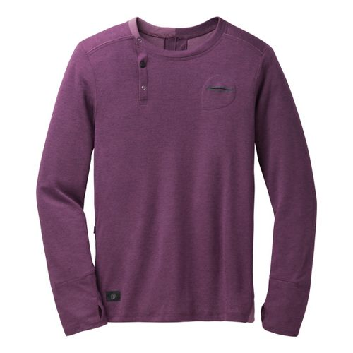 Mens Brooks PureProject Henley Long Sleeve No Zip Technical Tops - Heather/Fig L
