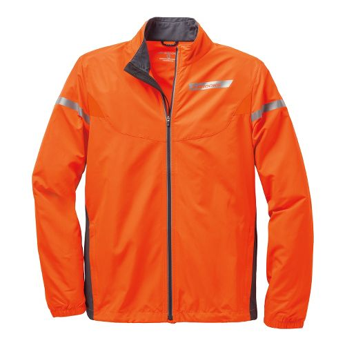Mens Brooks Essential IV Running Jackets - Brite Orange/Anthracite L