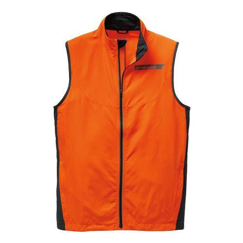 Mens Brooks Essential Vest IV Running Vests - Brite Orange/Anthracite L