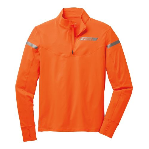 Mens Brooks Essential III Long Sleeve 1/2 Zip Technical Tops - Brite Orange/Anthracite L