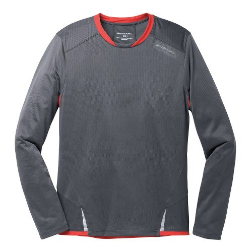 Mens Brooks Infiniti Long Sleeve No Zip Technical Tops - Anthracite/Mars XL
