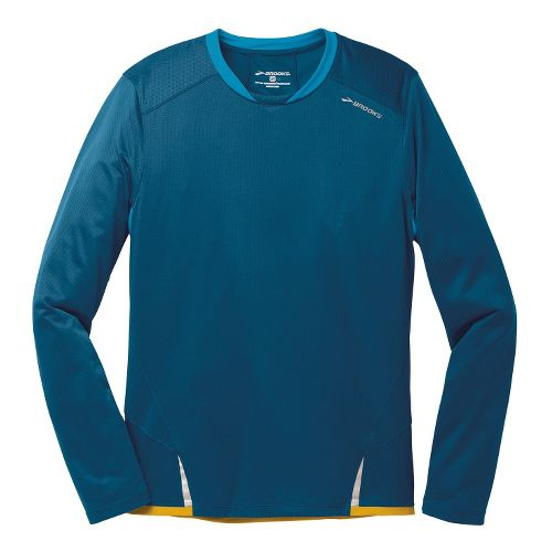 Mens Brooks Infiniti Long Sleeve No Zip Technical Tops - Poseidon/Baltic L