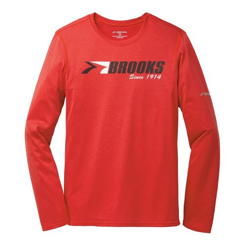 Mens Brooks EZ T III Brooks 1914 Long Sleeve No Zip Technical Tops - Heather ...