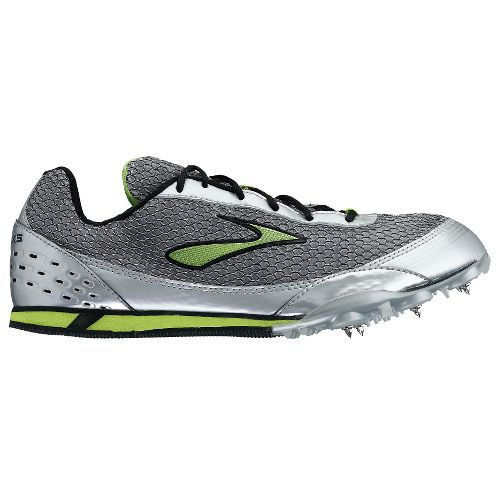 Brooks Nerve LD Track Spike Track and Field Shoe - Silver/Lime 10.5