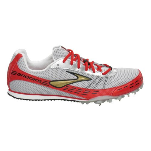 Brooks Nerve LD Track Spike Track and Field Shoe - Silver/Scarlet 6.5