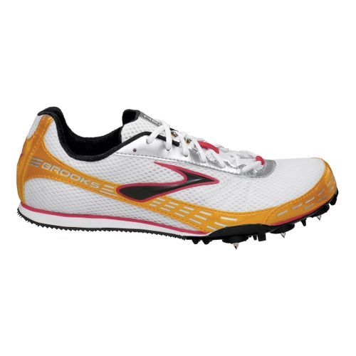 Brooks Nerve LD Track Spike Track and Field Shoe - White/Sunkissed 10.5
