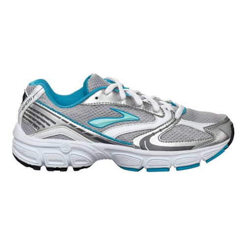 Kids Brooks Ghost Running Shoe - Silver/Light Blue 6