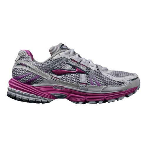 Womens Brooks Adrenaline GTS 12 Running Shoe - White/Pink 5