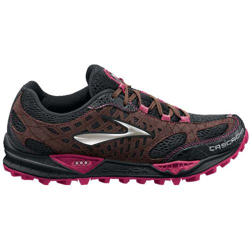 Womens Brooks Cascadia 7 Trail Running Shoe - Black/Shopping Bag 10