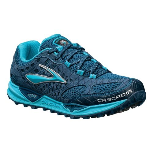 Womens Brooks Cascadia 7 Trail Running Shoe - Blue 5