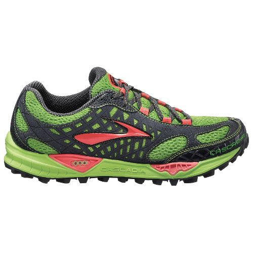 Womens Brooks Cascadia 7 Trail Running Shoe - Green/Cayenne 9.5