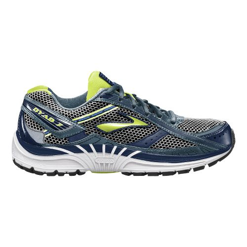 Womens Brooks Dyad 7 Running Shoe - Navy/Citrus 7.5